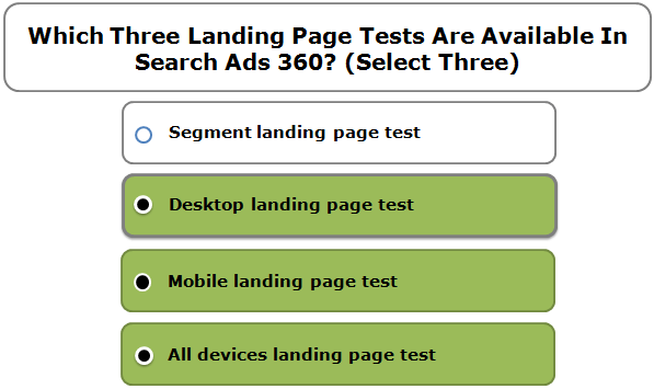 Which Three Landing Page Tests Are Available In Search Ads 360? (Select Three)