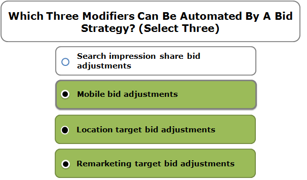 Which Three Modifiers Can Be Automated By A Bid Strategy? (Select Three)