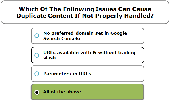 Which Of The Following Issues Can Cause Duplicate Content If Not Properly Handled?