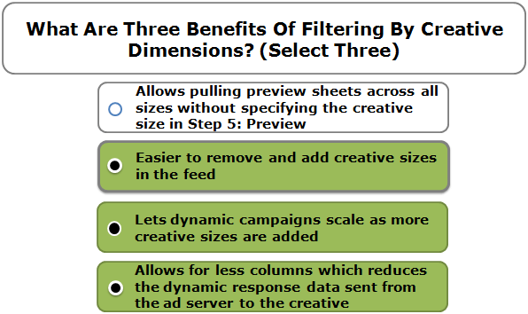 What Are Three Benefits Of Filtering By Creative Dimensions? (Select Three)