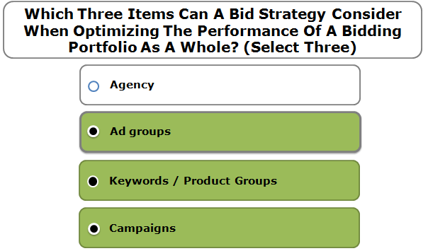 Which Three Items Can A Bid Strategy Consider When Optimizing The Performance Of A Bidding Portfolio As A Whole? (Select Three)