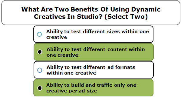 What Are Two Benefits Of Using Dynamic Creatives In Studio? (Select Two)