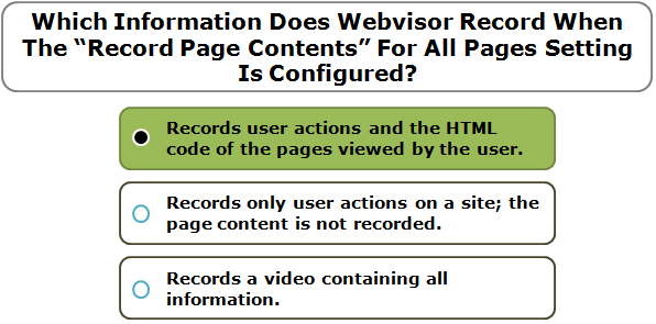 "Which Information Does Webvisor Record When The ""Record Page Contents"" For All Pages Setting Is Configured?"