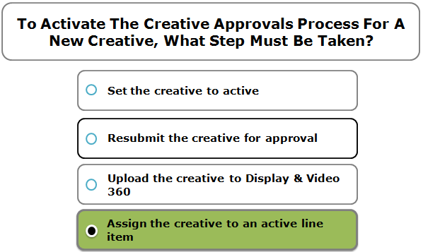 To Activate The Creative Approvals Process For A New Creative, What Step Must Be Taken?