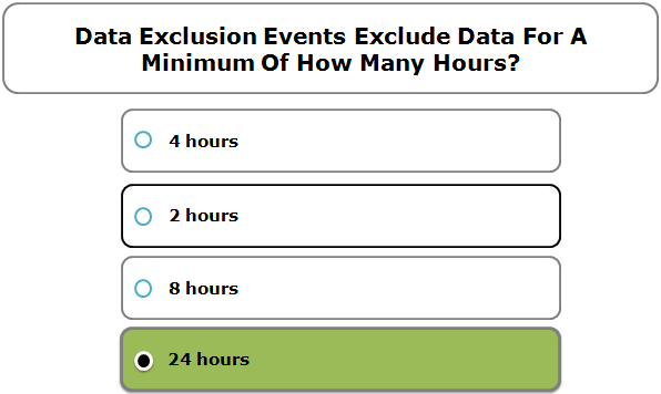 Data Exclusion Events Exclude Data For A Minimum Of How Many Hours?
