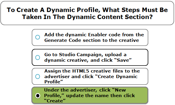 To Create A Dynamic Profile, What Steps Must Be Taken In The Dynamic Content Section?