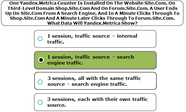 One Yandex.Metrica Counter Is Installed On The Website Site.Com, On Third-Level Domain Shop.Site.Com And On Forum.Site.Com. A User Ends Up On Site.Com From A Search Engine, And In A Minute Clicks Through To Shop.Site.Com And A Minute Later Clicks Through To Forum.Site.Com. What Data Will Yandex.Metrica Show?