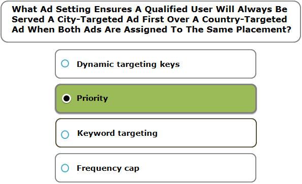 What Ad Setting Ensures A Qualified User Will Always Be Served A City-Targeted Ad First Over A Country-Targeted Ad When Both Ads Are Assigned To The Same Placement?