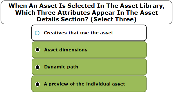 When An Asset Is Selected In The Asset Library, Which Three Attributes Appear In The Asset Details Section? (Select Three)