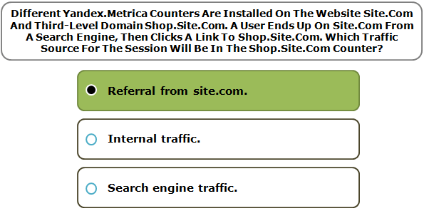 Different Yandex.Metrica Counters Are Installed On The Website Site.Com And Third-Level Domain Shop.Site.Com. A User Ends Up On Site.Com From A Search Engine, Then Clicks A Link To Shop.Site.Com. Which Traffic Source For The Session Will Be In The Shop.Site.Com Counter?