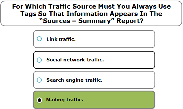 "For Which Traffic Source Must You Always Use Tags So That Information Appears In The ""Sources – Summary"" Report?"