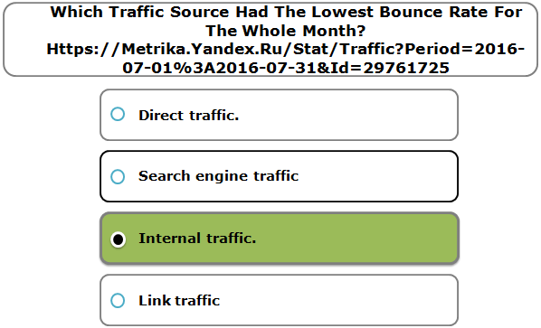 Which Traffic Source Had The Lowest Bounce Rate For The Whole Month? Https://Metrika.Yandex.Ru/Stat/Traffic?Period=2016-07-01%3A2016-07-31&Id=29761725