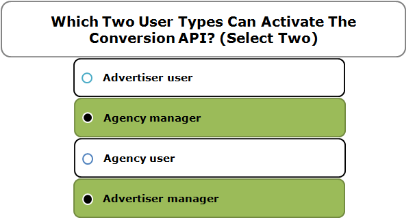 Which Two User Types Can Activate The Conversion API? (Select Two)