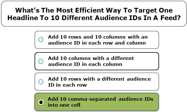 What's The Most Efficient Way To Target One Headline To 10 Different Audience IDs In A Feed?