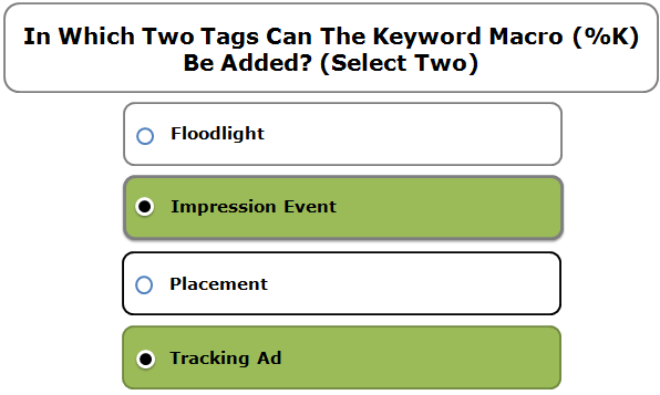 In Which Two Tags Can The Keyword Macro (%K) Be Added? (Select Two)