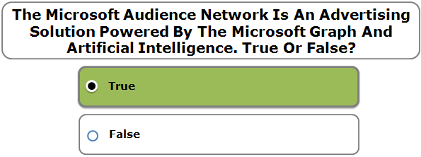 The Microsoft Audience Network Is An Advertising Solution Powered By The Microsoft Graph And Artificial Intelligence. True Or False?
