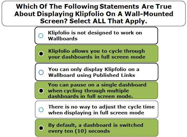 Which Of The Following Statements Are True About Displaying Klipfolio On A Wall-Mounted Screen? Select ALL That Apply.