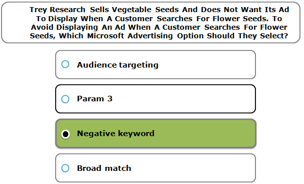 Trey Research Sells Vegetable Seeds And Does Not Want Its Ad To Display When A Customer Searches For Flower Seeds. To Avoid Displaying An Ad When A Customer Searches For Flower Seeds, Which Microsoft Advertising Option Should They Select?