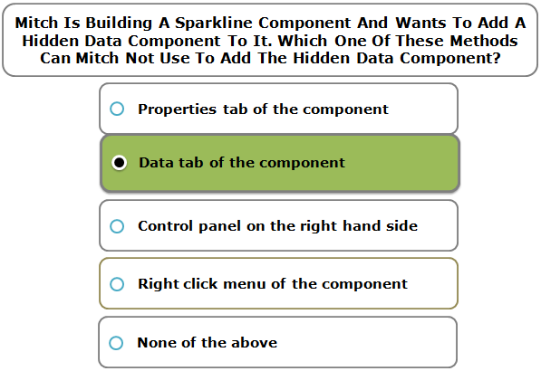 Mitch Is Building A Sparkline Component And Wants To Add A Hidden Data Component To It. Which One Of These Methods Can Mitch Not Use To Add The Hidden Data Component?