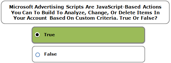 Microsoft Advertising Scripts Are JavaScript-Based Actions You Can To Build To Analyze, Change, Or Delete Items In Your Account Based On Custom Criteria. True Or False?