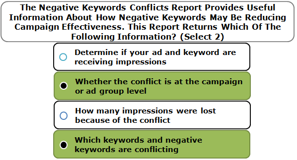 The Negative Keywords Conflicts Report Provides Useful Information About How Negative Keywords May Be Reducing Campaign Effectiveness. This Report Returns Which Of The Following Information? (Select 2)