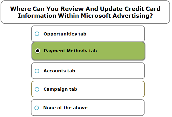 Where Can You Review And Update Credit Card Information Within Microsoft Advertising?