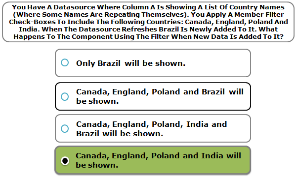 You Have A Datasource Where Column A Is Showing A List Of Country Names (Where Some Names Are Repeating Themselves). You Apply A Member Filter Check-Boxes To Include The Following Countries: Canada, England, Poland And India. When The Datasource Refreshes Brazil Is Newly Added To It. What Happens To The Component Using The Filter When New Data Is Added To It?