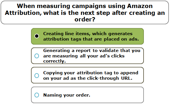 When measuring campaigns using Amazon Attribution, what is the next step after creating an order?