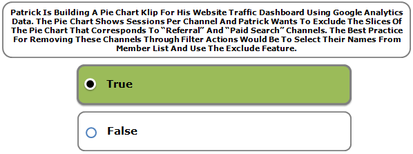 """Patrick Is Building A Pie Chart Klip For His Website Traffic Dashboard Using Google Analytics Data. The Pie Chart Shows Sessions Per Channel And Patrick Wants To Exclude The Slices Of The Pie Chart That Corresponds To """"Referral"""" And """"Paid Search"""" Channels. The Best Practice For Removing These Channels Through Filter Actions Would Be To Select Their Names From Member List And Use The Exclude Feature."""