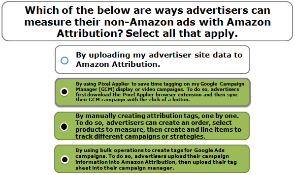 Which of the below are ways advertisers can measure their non-Amazon ads with Amazon Attribution? Select all that apply.