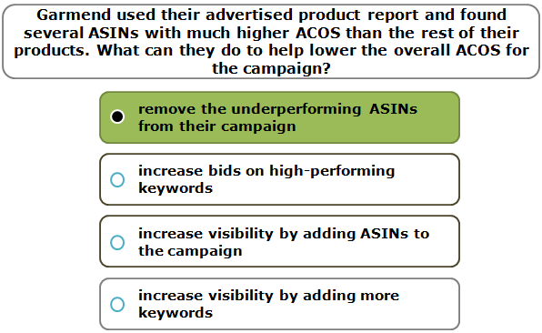 Garmend used their advertised product report and found several ASINs with much higher ACOS than the rest of their products. What can they do to help lower the overall ACOS for the campaign?