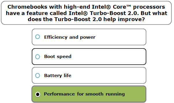 Chromebooks with high-end Intel® Core™ processors have a feature called Intel® Turbo-Boost 2.0. But what does the Turbo-Boost 2.0 help improve?