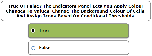 True Or False? The Indicators Panel Lets You Apply Colour Changes To Values, Change The Background Colour Of Cells, And Assign Icons Based On Conditional Thresholds.