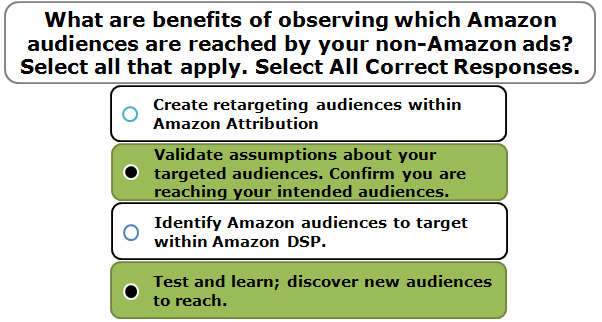 What are benefits of observing which Amazon audiences are reached by your non-Amazon ads? Select all that apply. Select All Correct Responses.