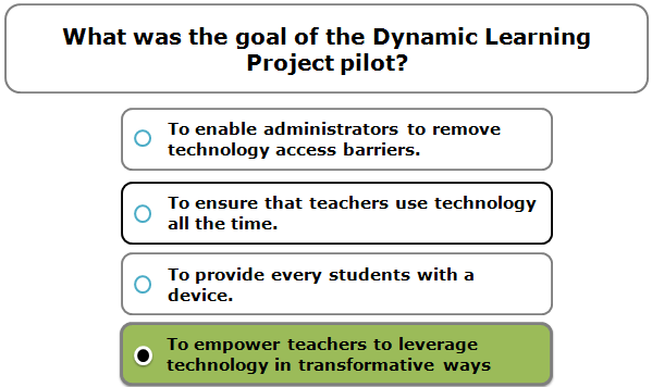 What was the goal of the Dynamic Learning Project pilot?