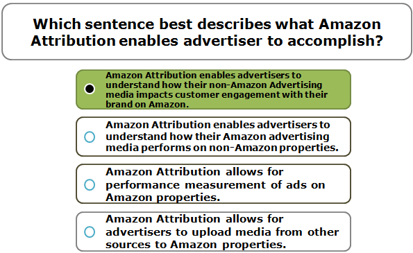Which sentence best describes what Amazon Attribution enables advertiser to accomplish?