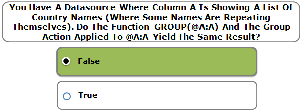 You Have A Datasource Where Column A Is Showing A List Of Country Names (Where Some Names Are Repeating Themselves). Do The Function GROUP(@A:A) And The Group Action Applied To @A:A Yield The Same Result?