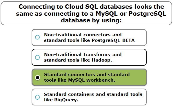 Connecting to Cloud SQL databases looks the same as connecting to a MySQL or PostgreSQL database by using:
