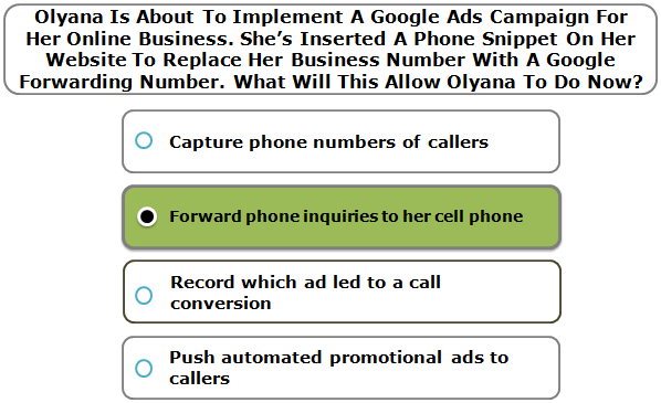 Olyana Is About To Implement A Google Ads Campaign For Her Online Business. She's Inserted A Phone Snippet On Her Website To Replace Her Business Number With A Google Forwarding Number. What Will This Allow Olyana To Do Now?