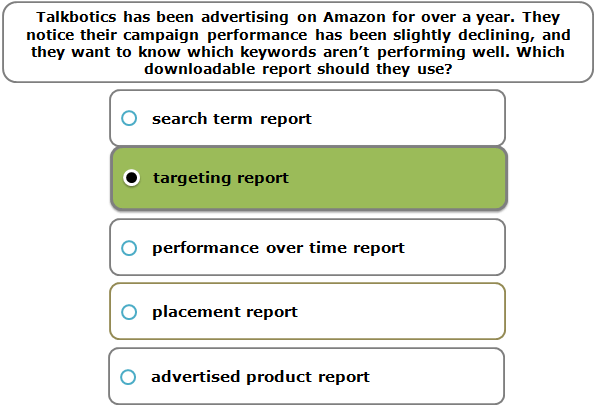 Talkbotics has been advertising on Amazon for over a year. They notice their campaign performance has been slightly declining, and they want to know which keywords aren't performing well. Which downloadable report should they use?