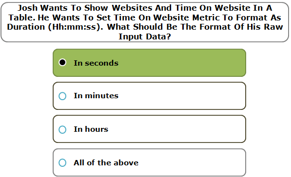 Josh Wants To Show Websites And Time On Website In A Table. He Wants To Set Time On Website Metric To Format As Duration (Hh:mm:ss). What Should Be The Format Of His Raw Input Data?