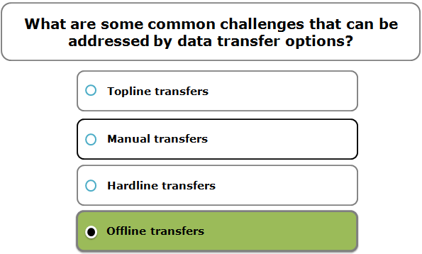 What are some common challenges that can be addressed by data transfer options?