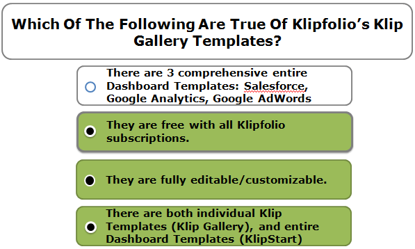 Which Of The Following Are True Of Klipfolio's Klip Gallery Templates?