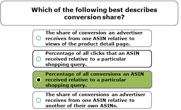 Which of the following best describes conversion share?