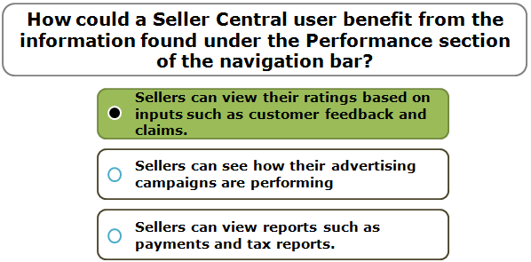 How could a Seller Central user benefit from the information found under the Performance section of the navigation bar?