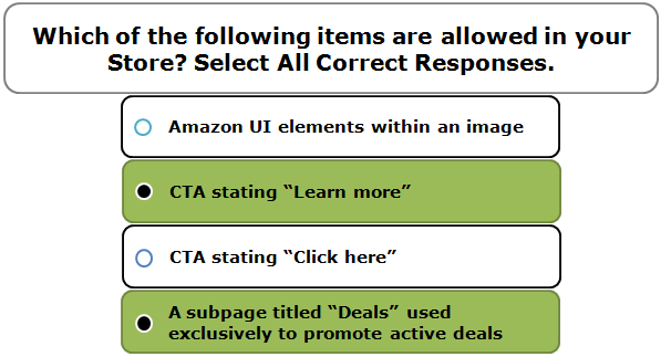 Which of the following items are allowed in your Store? Select All Correct Responses.