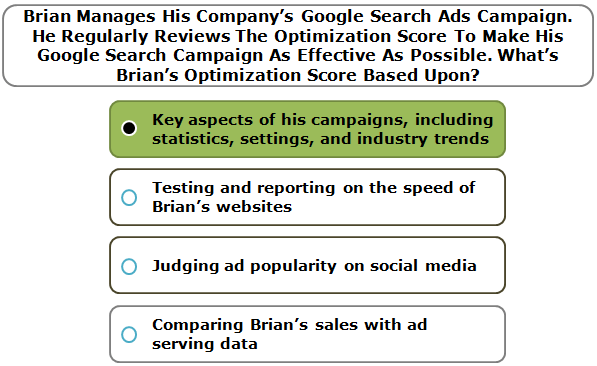Brian Manages His Company's Google Search Ads Campaign. He Regularly Reviews The Optimization Score To Make His Google Search Campaign As Effective As Possible. What's Brian's Optimization Score Based Upon?