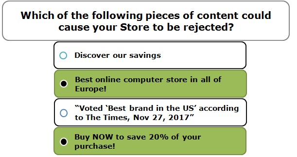 Which of the following pieces of content could cause your Store to be rejected?