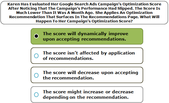 Karen Has Evaluated Her Google Search Ads Campaign's Optimization Score After Noticing That The Campaign's Performance Had Slipped. The Score Is Much Lower Than It Was A Month Ago. She Applies An Optimization Recommendation That Surfaces In The Recommendations Page. What Will Happen To Her Campaign's Optimization Score?