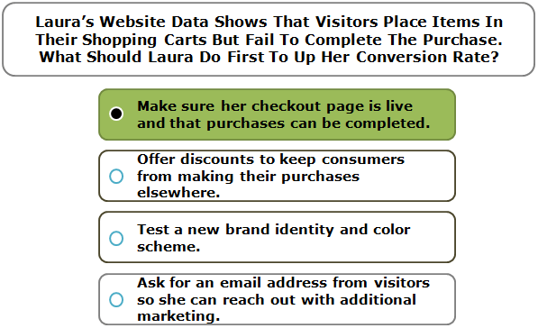 Laura's Website Data Shows That Visitors Place Items In Their Shopping Carts But Fail To Complete The Purchase. What Should Laura Do First To Up Her Conversion Rate?
